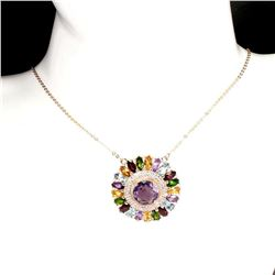 Natural Amethyst & Multi Gemstones Necklace