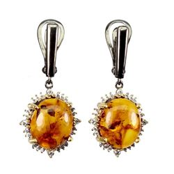 Natural Oval Orange Amber Earrings
