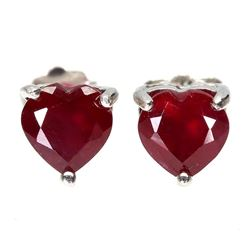 Genuine Red Ruby Hearts Earrings