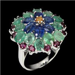 Natural  Emerald Rhodolite Sapphire Ring