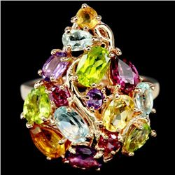 MULTI COLOR TOPAZ RHODOLITE CITRINE PERIDOT Ring