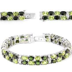 NATURAL CHROME DIOPSIDE, PERIDOT BRACELET