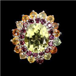 Natural Gold Quartz, Rhodolite & Sapphire Ring