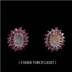 Untreated White Opal & Ruby Earrings