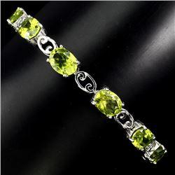 Natural  8x6mm Top Rich Green Peridot Bracelet