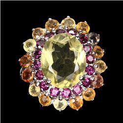 Natural Lemon Quartz, Rhodolite & Sapphire Ring