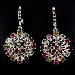 Natural Fancy Tourmaline Ruby Garnet Earrings