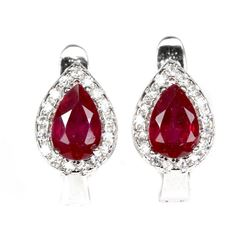 Genuine Pear Red Ruby Earrings