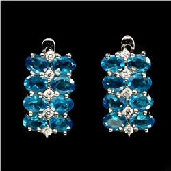 Natural Brazil AAA Neon Blue Apatite Earrings