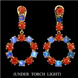 Unheated White Opal & Italian Coral Earrings