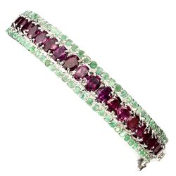 Natural Rhodolite Garnet & Green Emerald Bangle