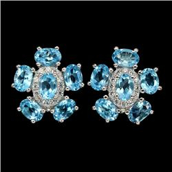 Natural  Swiss Blue Topaz 6x4mm Earrings