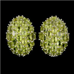 Natural Unheated Oval Peridot 60 Carats Earrings