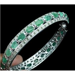 Natural Unheated Emerald &  Sapphire Bangle