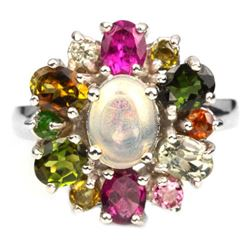 NATURAL WHITE OPAL & MULTI COLOR TOURMALINE Ring