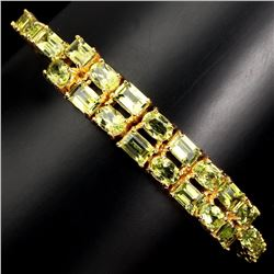 Natural Top Rich Green Peridot 83.09 Ct  Bracelet