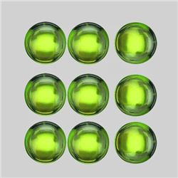 Natural Cabochon Green Peridot 9 Pcs{Flawless-VVS1}