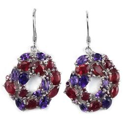 Natural BLOOD RED RUBY & PURPLE AMETHYST Earrings