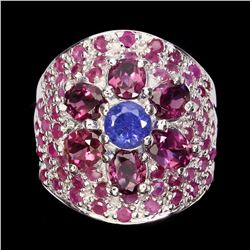 Natural Top Blue Violet Tanzanite Garnet Ruby Ring