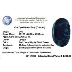 LEGENDARY 2400 CT CERTIFIED MUSEUM SIZE EMERALD.