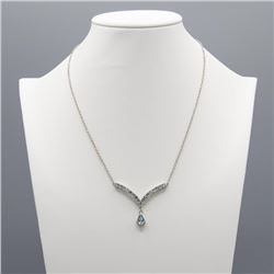 Dazzling 3.20 CT Blue And White Topaz Necklace