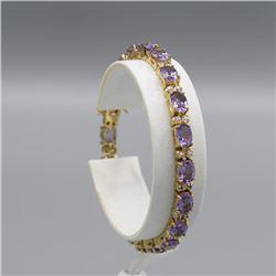 Sparkling 9.08 Ct Amethyst Diamond 18 Kt  Bracelet