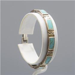 Navajo 18.3 Ct Natural Turquoise Inlay Bracelet