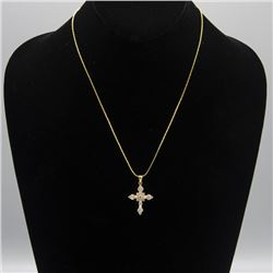 AMAZING14 KT STAMPED GOLD PLATED CROSS PENDANT