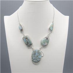 Huge Natural Carribian Blue Larimar Necklace.
