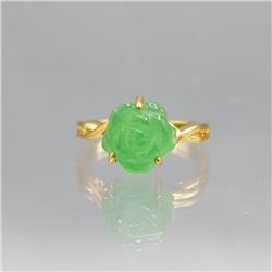 Lovly Hand Carved 5.45 Ct Jade Rose Ring