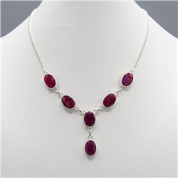 Sterling Silver Natural 55 Ct Ruby Necklace