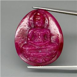 Natural Untreated Hand Carved Ruby Buddha