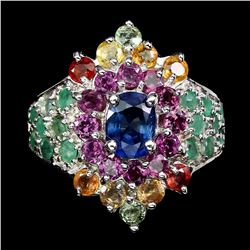 Natural Emerald, Sapphire &  Rhodolite Garnet Ring
