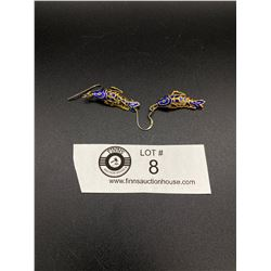 Very Nice Articulated Sterling and Enamel Fish Earrings