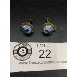 Pair of Dutch HallmarkedSterling and Delft Pottery Earrings