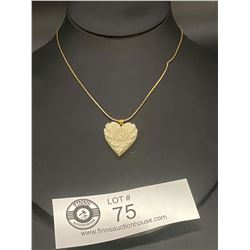 Carved Ivory Floral Heart Necklace ( Nice Piece)