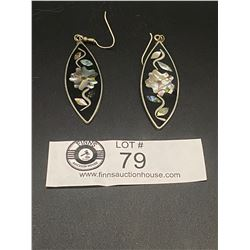 Nice Pair of Vintage Mexican Shell Inlay Earrings