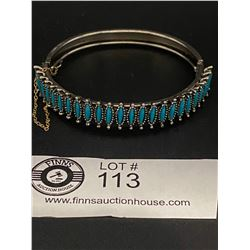 Silver Bangle Bracelet with Turquoise Stones with Safety Chain