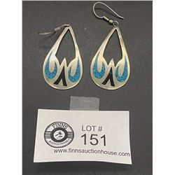 Pair of Large Mexico 925 Turquoise Inlaid Earrings