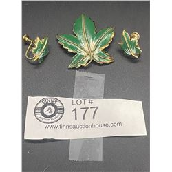 "1950's Enamelled "" Coro"" Maple Leaf Brooch and Earring Set"