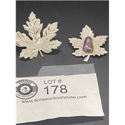 2 1950's Maple Leaf Pins 1 is Sterling and Amethyst