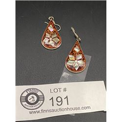 Nice Pair Mexian Inlaid Shell Earrings