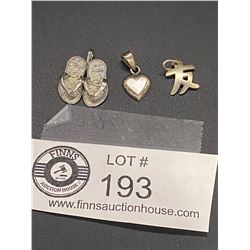 3 Sterling Charms Including a Heart