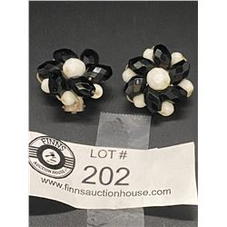 Interesting Pair of 50's Black and White Crystal Earrings