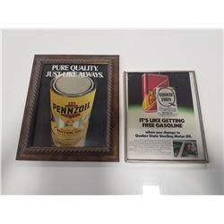 Framed Penzoil & Quaker State Ads