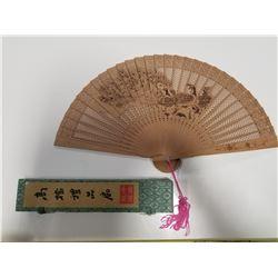 Vintage Sandalwood Asian Fan with Peacock Motif