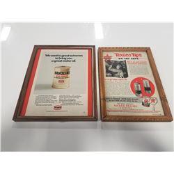 Framed Texaco Gas & Oil Ads