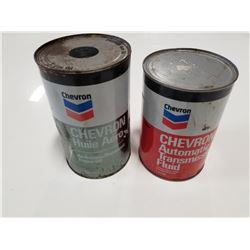Lot of 2 Chevron Oil Tins (Full)
