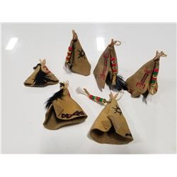 Lot of 7 Leathercraft Wigwam Ornaments