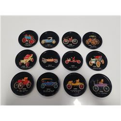 Lot of 12 Vintage Tin Drink Coasters